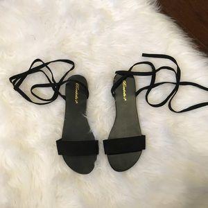 Shoes - Black Tie-up Sandals